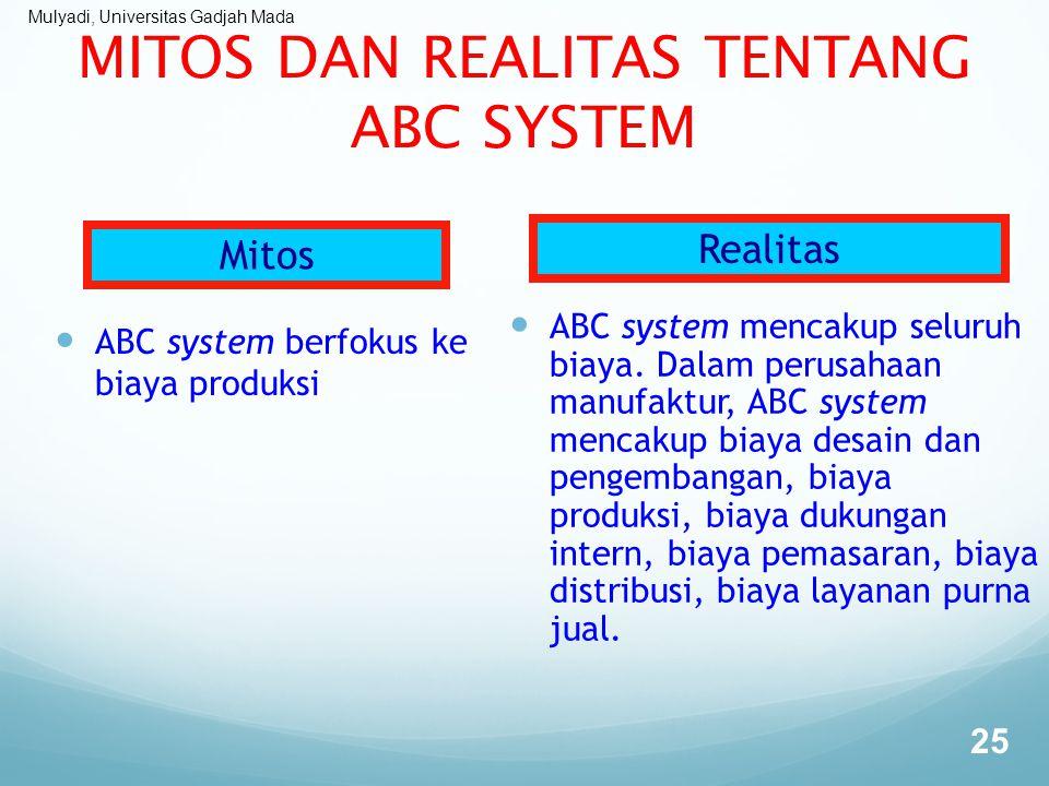 Mulyadi, Universitas Gadjah Mada MITOS DAN REALITAS TENTANG ABC SYSTEM ABC system berfokus ke biaya produksi ABC system mencakup seluruh biaya. Dalam