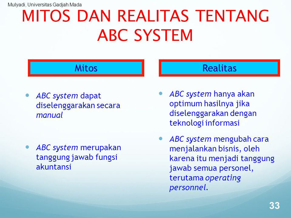 Mulyadi, Universitas Gadjah Mada MITOS DAN REALITAS TENTANG ABC SYSTEM ABC system dapat diselenggarakan secara manual ABC system merupakan tanggung ja