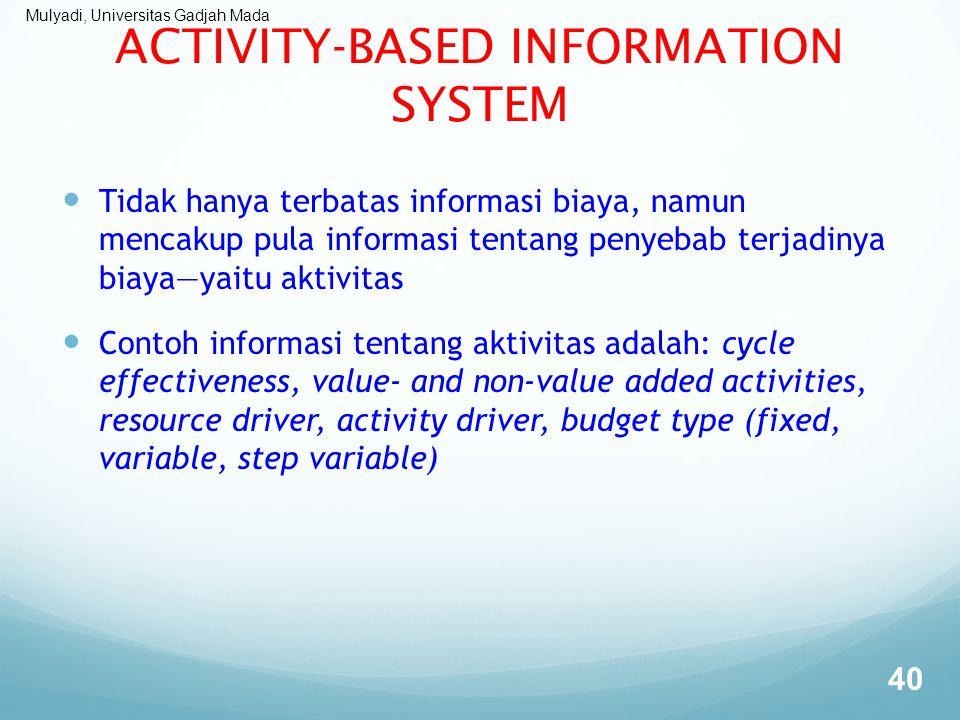 Mulyadi, Universitas Gadjah Mada ACTIVITY-BASED INFORMATION SYSTEM Tidak hanya terbatas informasi biaya, namun mencakup pula informasi tentang penyeba