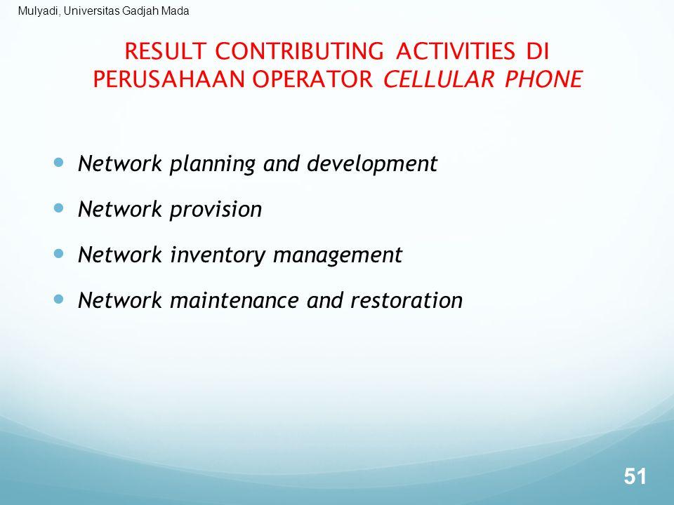 Mulyadi, Universitas Gadjah Mada RESULT CONTRIBUTING ACTIVITIES DI PERUSAHAAN OPERATOR CELLULAR PHONE Network planning and development Network provisi