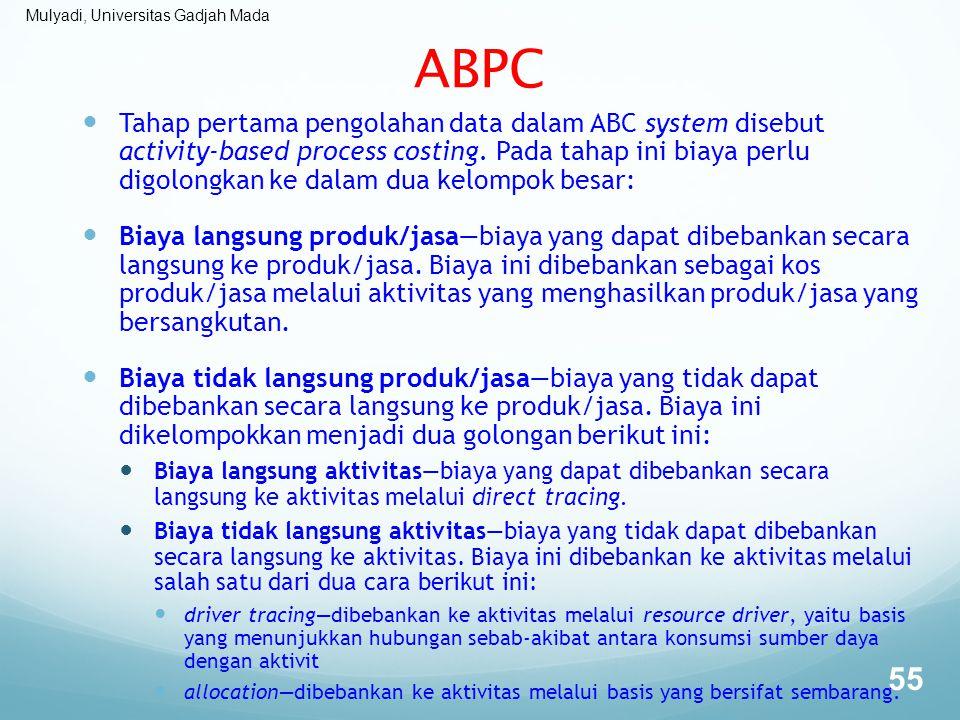 Mulyadi, Universitas Gadjah Mada ABPC Tahap pertama pengolahan data dalam ABC system disebut activity-based process costing. Pada tahap ini biaya perl