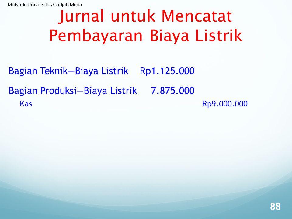 Mulyadi, Universitas Gadjah Mada Jurnal untuk Mencatat Pembayaran Biaya Listrik Bagian Teknik—Biaya ListrikRp1.125.000 Bagian Produksi—Biaya Listrik7.