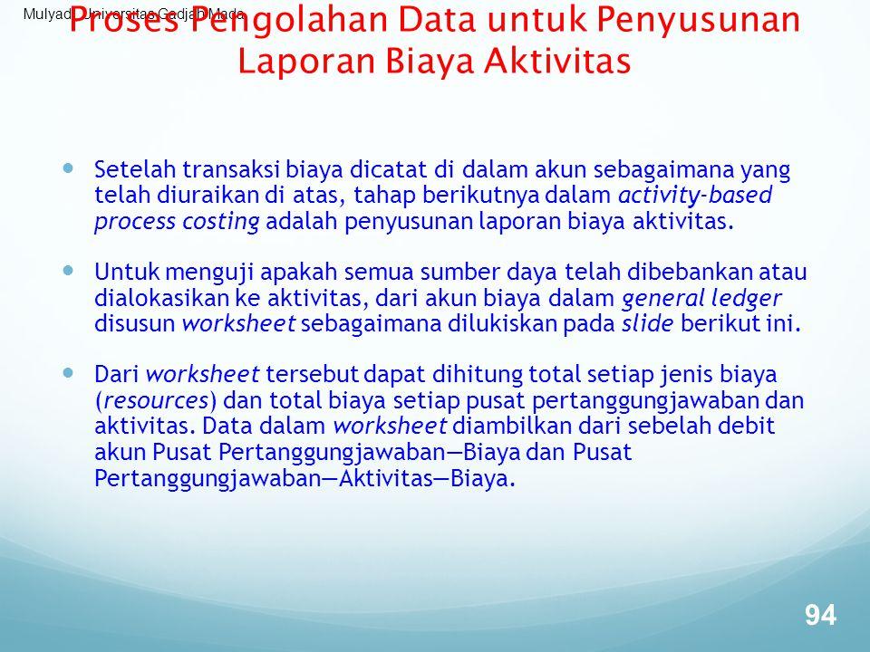 Mulyadi, Universitas Gadjah Mada Proses Pengolahan Data untuk Penyusunan Laporan Biaya Aktivitas Setelah transaksi biaya dicatat di dalam akun sebagai