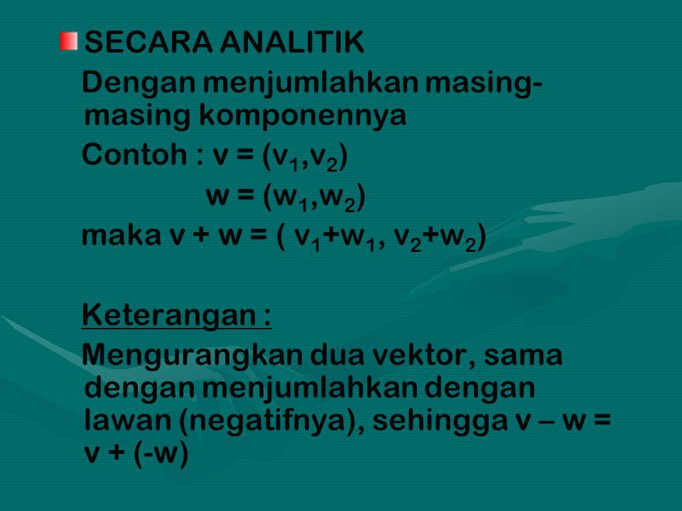 SECARA ANALITIK Dengan menjumlahkan masing- masing komponennya Contoh : v = (v 1,v 2 ) w = (w 1,w 2 ) maka v + w = ( v 1 +w 1, v 2 +w 2 ) Keterangan : Mengurangkan dua vektor, sama dengan menjumlahkan dengan lawan (negatifnya), sehingga v – w = v + (-w)