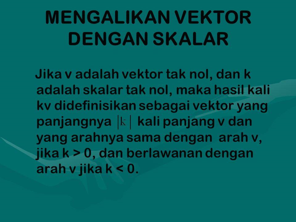 MENGALIKAN VEKTOR DENGAN SKALAR Jika v adalah vektor tak nol, dan k adalah skalar tak nol, maka hasil kali kv didefinisikan sebagai vektor yang panjan