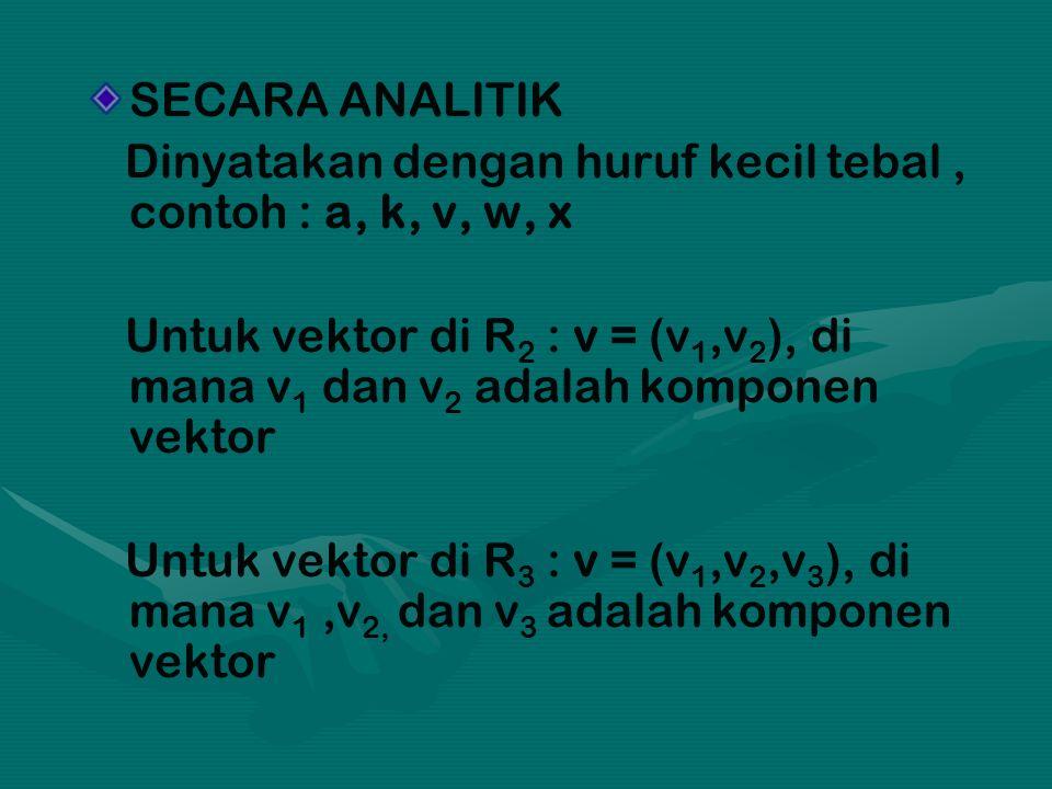 SECARA ANALITIK Dinyatakan dengan huruf kecil tebal, contoh : a, k, v, w, x Untuk vektor di R 2 : v = (v 1,v 2 ), di mana v 1 dan v 2 adalah komponen vektor Untuk vektor di R 3 : v = (v 1,v 2,v 3 ), di mana v 1,v 2, dan v 3 adalah komponen vektor