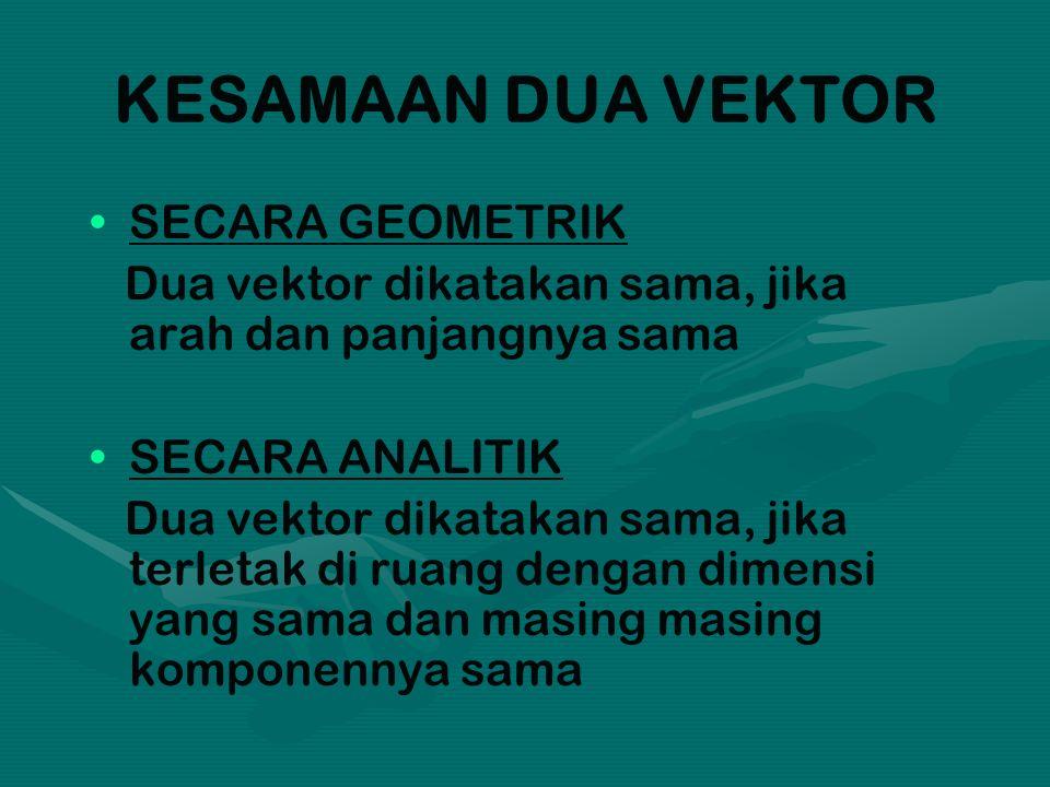 KESAMAAN DUA VEKTOR SECARA GEOMETRIK Dua vektor dikatakan sama, jika arah dan panjangnya sama SECARA ANALITIK Dua vektor dikatakan sama, jika terletak di ruang dengan dimensi yang sama dan masing masing komponennya sama