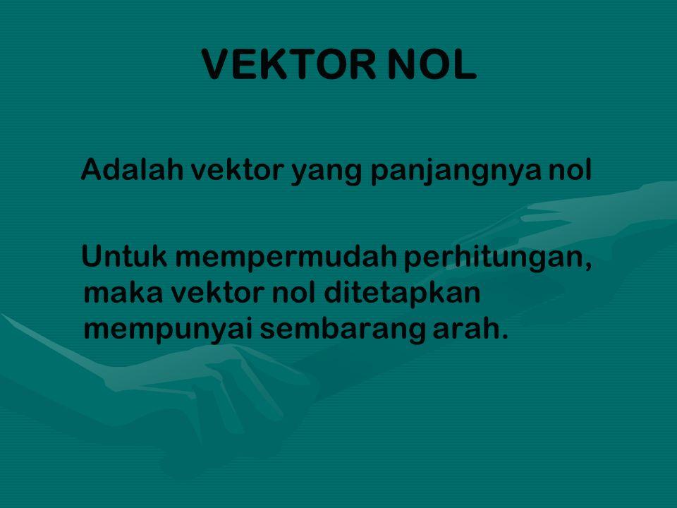 VEKTOR NOL Adalah vektor yang panjangnya nol Untuk mempermudah perhitungan, maka vektor nol ditetapkan mempunyai sembarang arah.