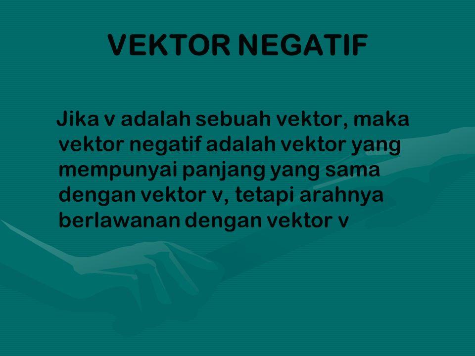 VEKTOR NEGATIF Jika v adalah sebuah vektor, maka vektor negatif adalah vektor yang mempunyai panjang yang sama dengan vektor v, tetapi arahnya berlawanan dengan vektor v
