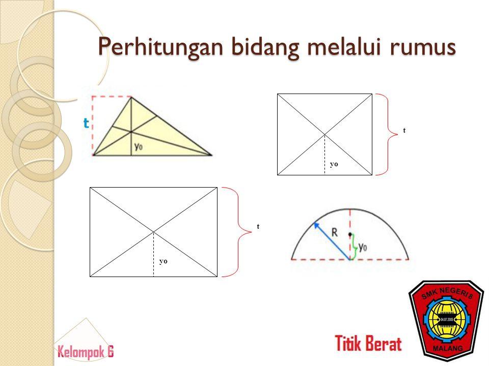 Perhitungan bidang melalui rumus t yo t