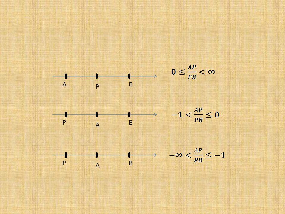 1.7.Rasio Pembagian Segmen Garis Misalkan diketahui titik P membagi segmen garis AB sedemkian hingga terdapat Perbandingan Rasio disebut rasio pembagian.