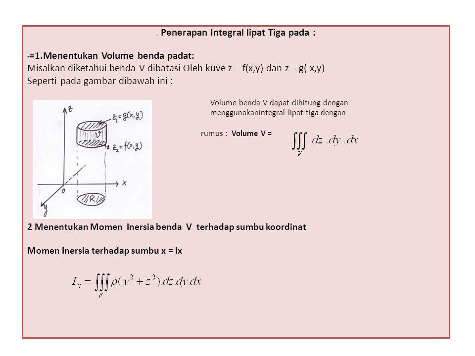 Momen Inersia terhadap sumbu y = Iy Momen Inersia terhadap sumbu z = Iz 3.Menentukan Titik berat benda V ( ) Dimana :