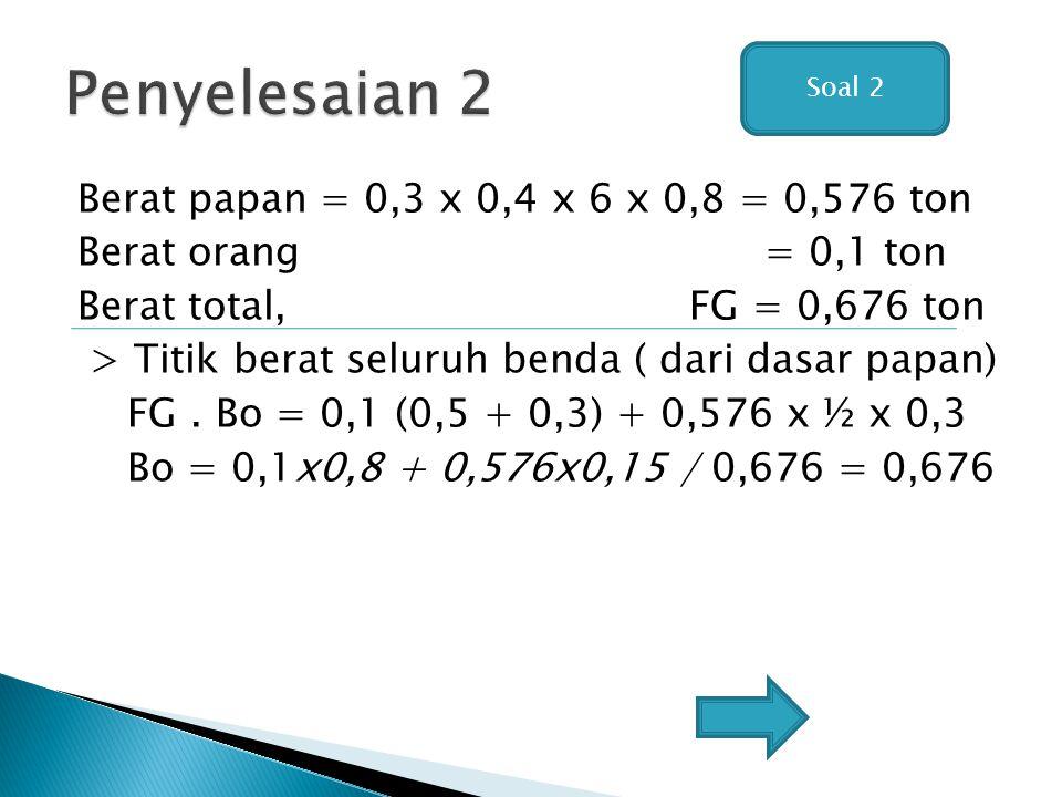 Berat papan = 0,3 x 0,4 x 6 x 0,8 = 0,576 ton Berat orang = 0,1 ton Berat total, FG = 0,676 ton > Titik berat seluruh benda ( dari dasar papan) FG. Bo
