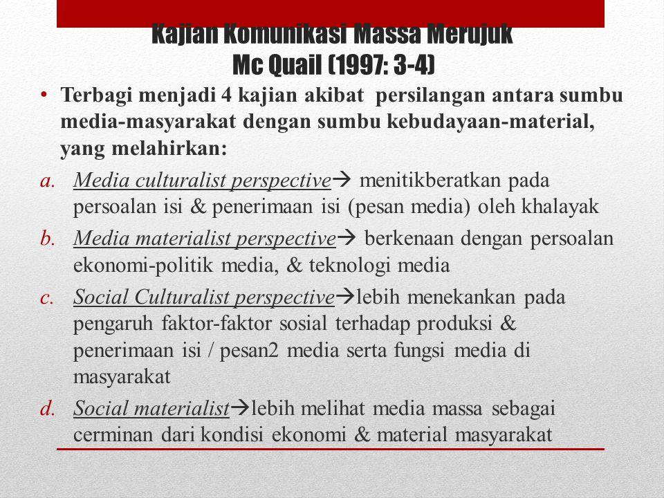Kajian Komunikasi Massa Merujuk Mc Quail (1997: 3-4) Terbagi menjadi 4 kajian akibat persilangan antara sumbu media-masyarakat dengan sumbu kebudayaan-material, yang melahirkan: a.Media culturalist perspective  menitikberatkan pada persoalan isi & penerimaan isi (pesan media) oleh khalayak b.Media materialist perspective  berkenaan dengan persoalan ekonomi-politik media, & teknologi media c.Social Culturalist perspective  lebih menekankan pada pengaruh faktor-faktor sosial terhadap produksi & penerimaan isi / pesan2 media serta fungsi media di masyarakat d.Social materialist  lebih melihat media massa sebagai cerminan dari kondisi ekonomi & material masyarakat