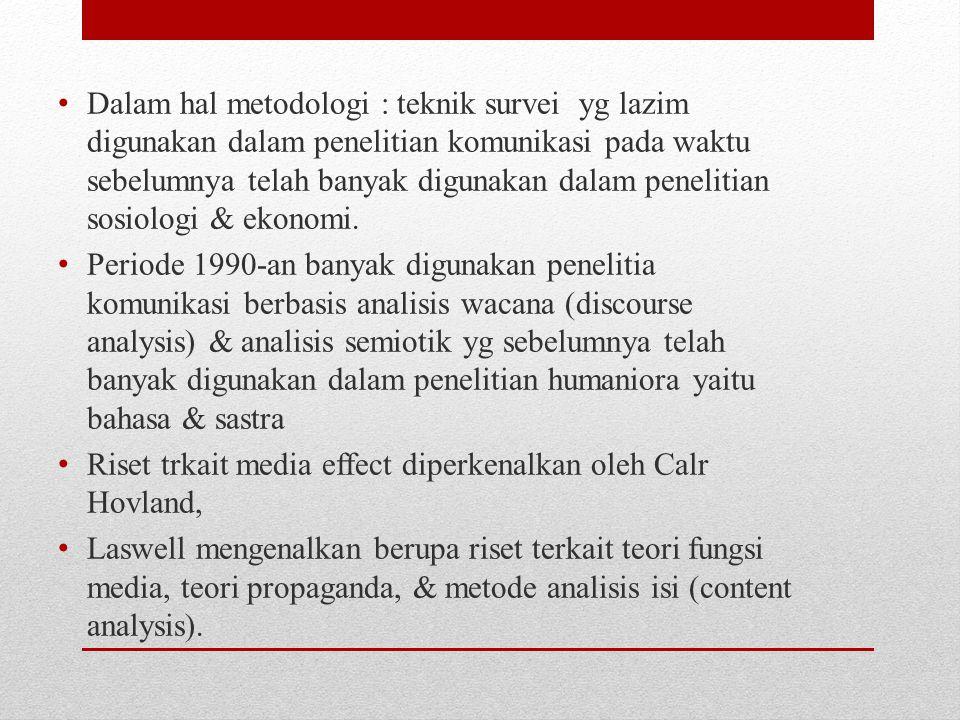 Dalam hal metodologi : teknik survei yg lazim digunakan dalam penelitian komunikasi pada waktu sebelumnya telah banyak digunakan dalam penelitian sosiologi & ekonomi.