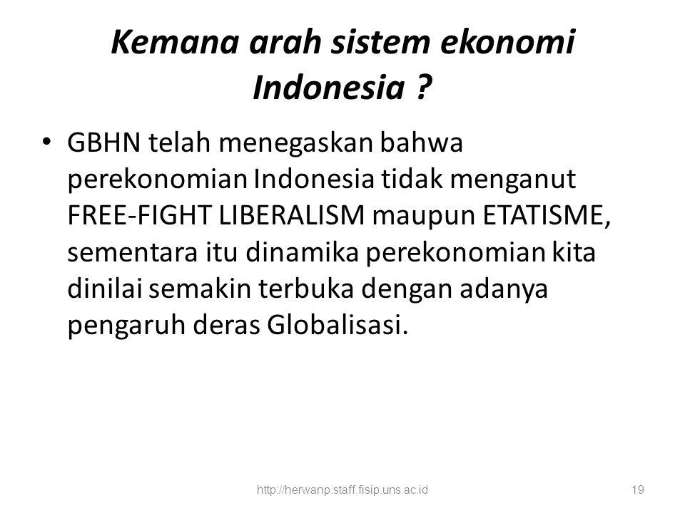 Kemana arah sistem ekonomi Indonesia ? GBHN telah menegaskan bahwa perekonomian Indonesia tidak menganut FREE-FIGHT LIBERALISM maupun ETATISME, sement
