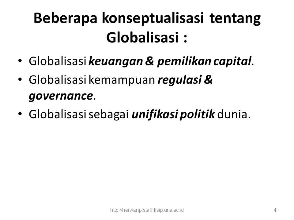 Beberapa konseptualisasi tentang Globalisasi : Globalisasi keuangan & pemilikan capital. Globalisasi kemampuan regulasi & governance. Globalisasi seba