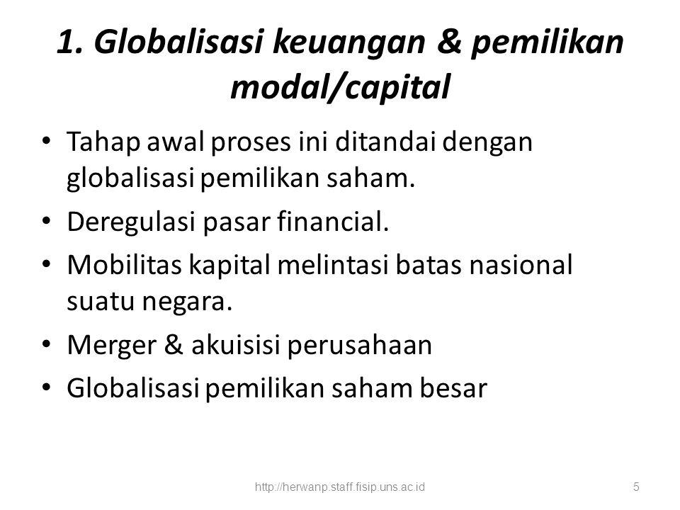 1. Globalisasi keuangan & pemilikan modal/capital Tahap awal proses ini ditandai dengan globalisasi pemilikan saham. Deregulasi pasar financial. Mobil