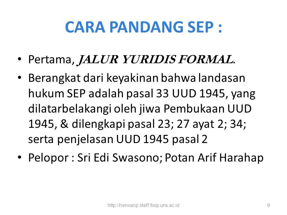 CARA PANDANG SEP : Pertama, JALUR YURIDIS FORMAL.