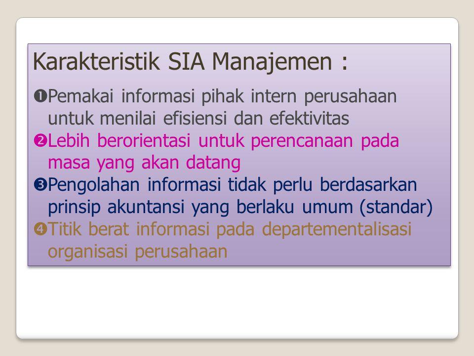 Karakteristik SIA keuangan :  Untuk memenuhi kebutuhan informasi pihak ekstern perusahaan  Lebih menitikberatkan pada informasi peristiwa keuangan p