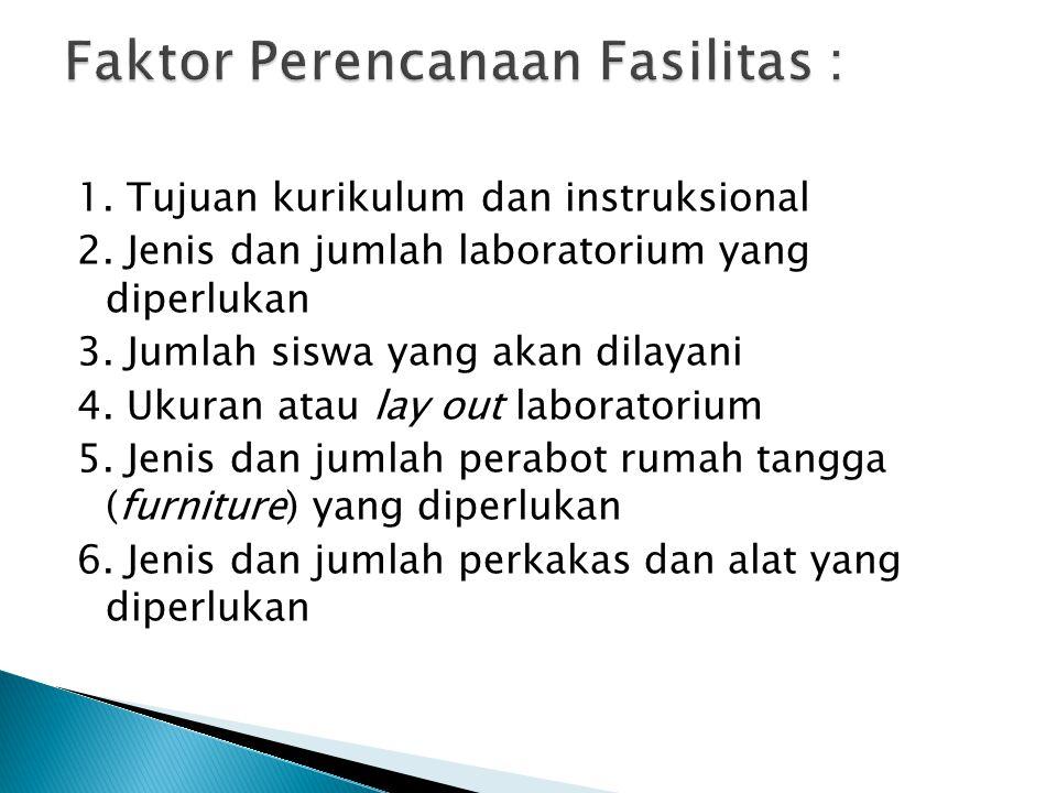 1. Tujuan kurikulum dan instruksional 2. Jenis dan jumlah laboratorium yang diperlukan 3. Jumlah siswa yang akan dilayani 4. Ukuran atau lay out labor