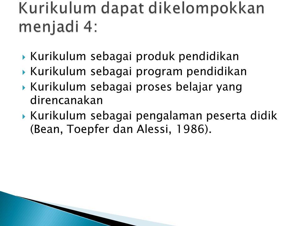  Kurikulum sebagai produk pendidikan  Kurikulum sebagai program pendidikan  Kurikulum sebagai proses belajar yang direncanakan  Kurikulum sebagai