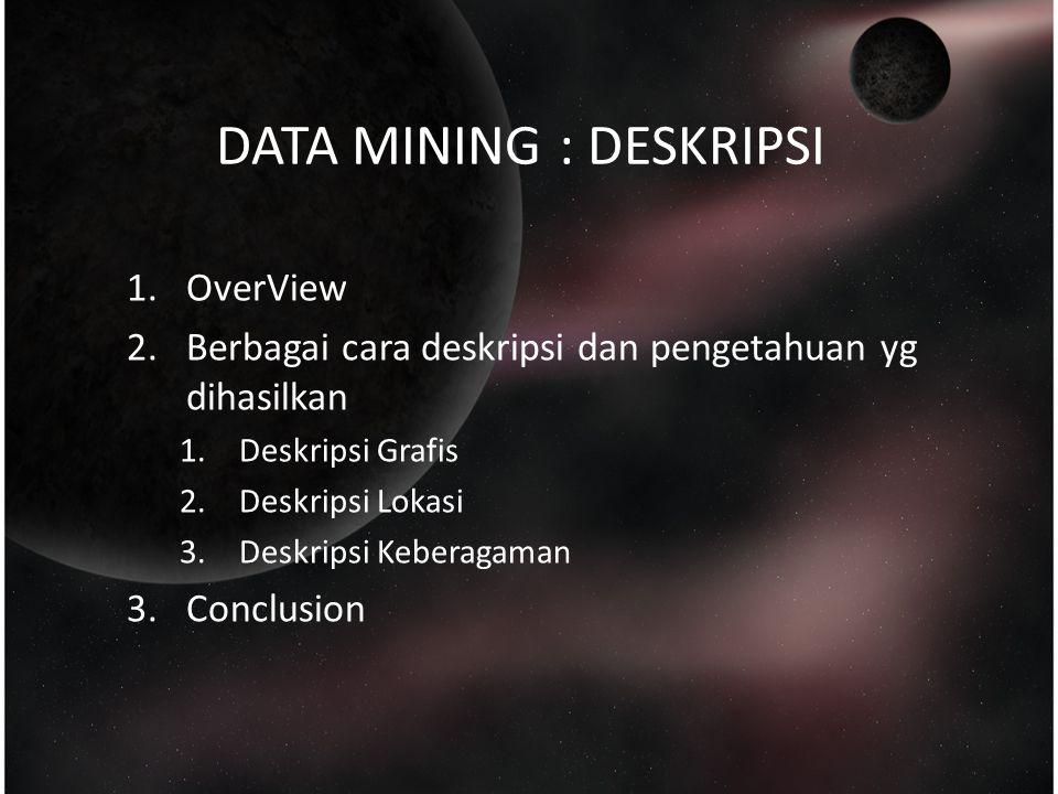 DATA MINING : DESKRIPSI 1.OverView 2.Berbagai cara deskripsi dan pengetahuan yg dihasilkan 1.Deskripsi Grafis 2.Deskripsi Lokasi 3.Deskripsi Keberagaman 3.Conclusion
