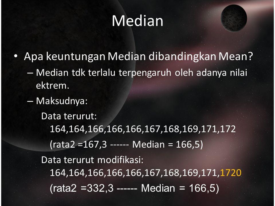 Median Apa keuntungan Median dibandingkan Mean.