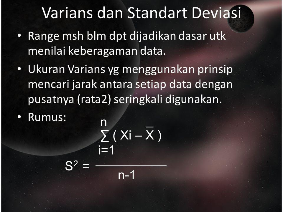 Varians dan Standart Deviasi Range msh blm dpt dijadikan dasar utk menilai keberagaman data.