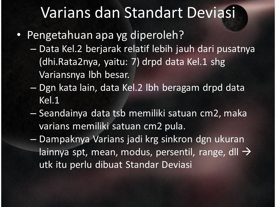 Varians dan Standart Deviasi Pengetahuan apa yg diperoleh.