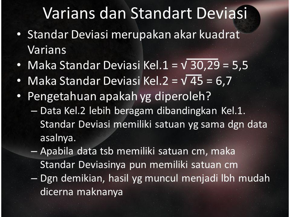 Varians dan Standart Deviasi Standar Deviasi merupakan akar kuadrat Varians Maka Standar Deviasi Kel.1 = √ 30,29 = 5,5 Maka Standar Deviasi Kel.2 = √ 45 = 6,7 Pengetahuan apakah yg diperoleh.