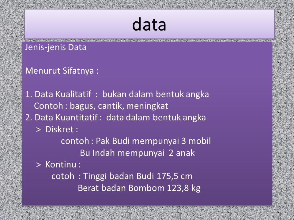 data Menurut sumbernya : Data Primer : data yang dikumpulkan langsung dari lapangan oleh orang yang berkepentingan.