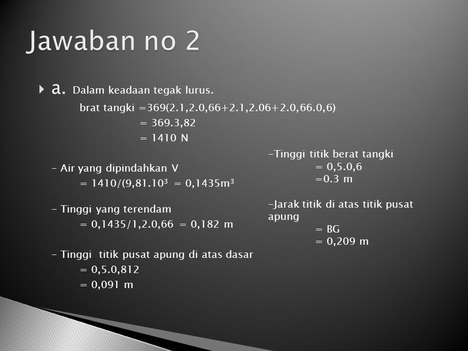  a. Dalam keadaan tegak lurus. brat tangki =369(2.1,2.0,66+2.1,2.06+2.0,66.0,6) = 369.3,82 = 1410 N - Air yang dipindahkan V = 1410/(9,81.10 3 = 0,14
