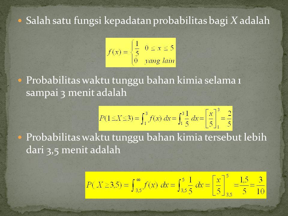 Salah satu fungsi kepadatan probabilitas bagi X adalah Probabilitas waktu tunggu bahan kimia selama 1 sampai 3 menit adalah Probabilitas waktu tunggu