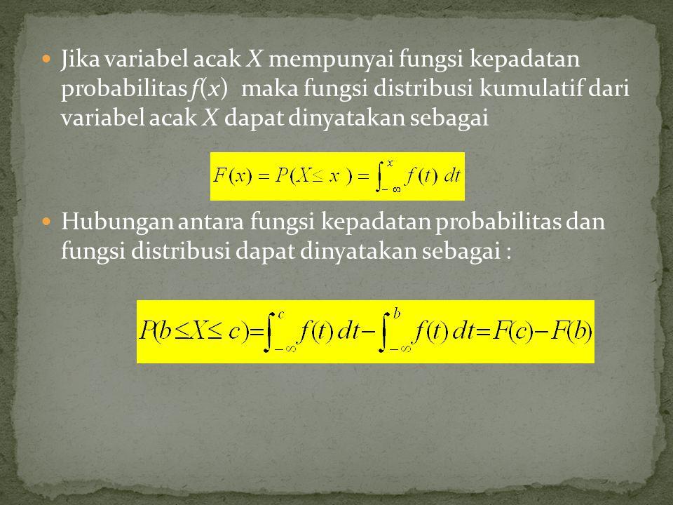 Jika variabel acak X mempunyai fungsi kepadatan probabilitas f(x) maka fungsi distribusi kumulatif dari variabel acak X dapat dinyatakan sebagai Hubun