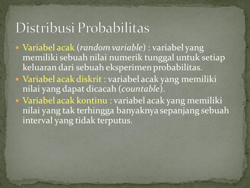 Variabel acak (random variable) : variabel yang memiliki sebuah nilai numerik tunggal untuk setiap keluaran dari sebuah eksperimen probabilitas  Vari