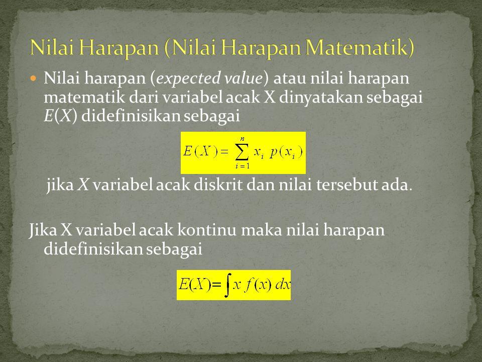 Nilai harapan (expected value) atau nilai harapan matematik dari variabel acak X dinyatakan sebagai E(X) didefinisikan sebagai jika X variabel acak di