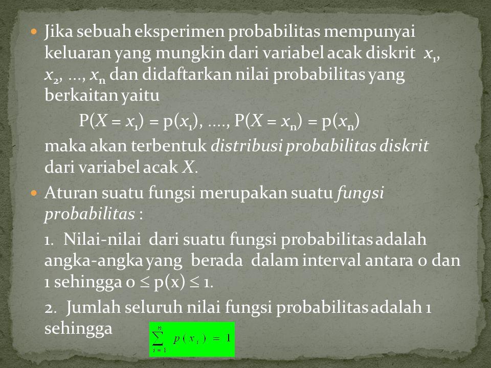 Jika sebuah eksperimen probabilitas mempunyai keluaran yang mungkin dari variabel acak diskrit x 1, x 2, , x n dan didaftarkan nilai probabilitas y