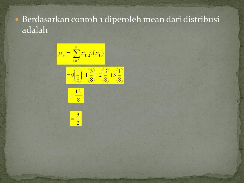 Berdasarkan contoh 1 diperoleh mean dari distribusi adalah 