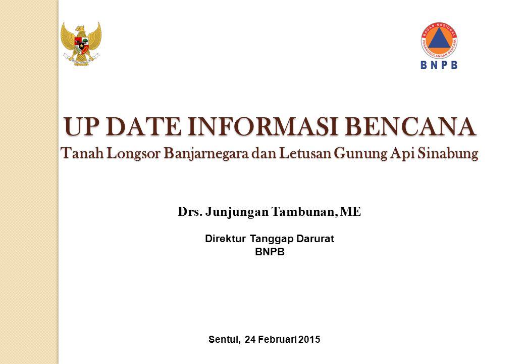 Sentul, 24 Februari 2015 Drs. Junjungan Tambunan, ME Direktur Tanggap Darurat BNPB UP DATE INFORMASI BENCANA Tanah Longsor Banjarnegara dan Letusan Gu