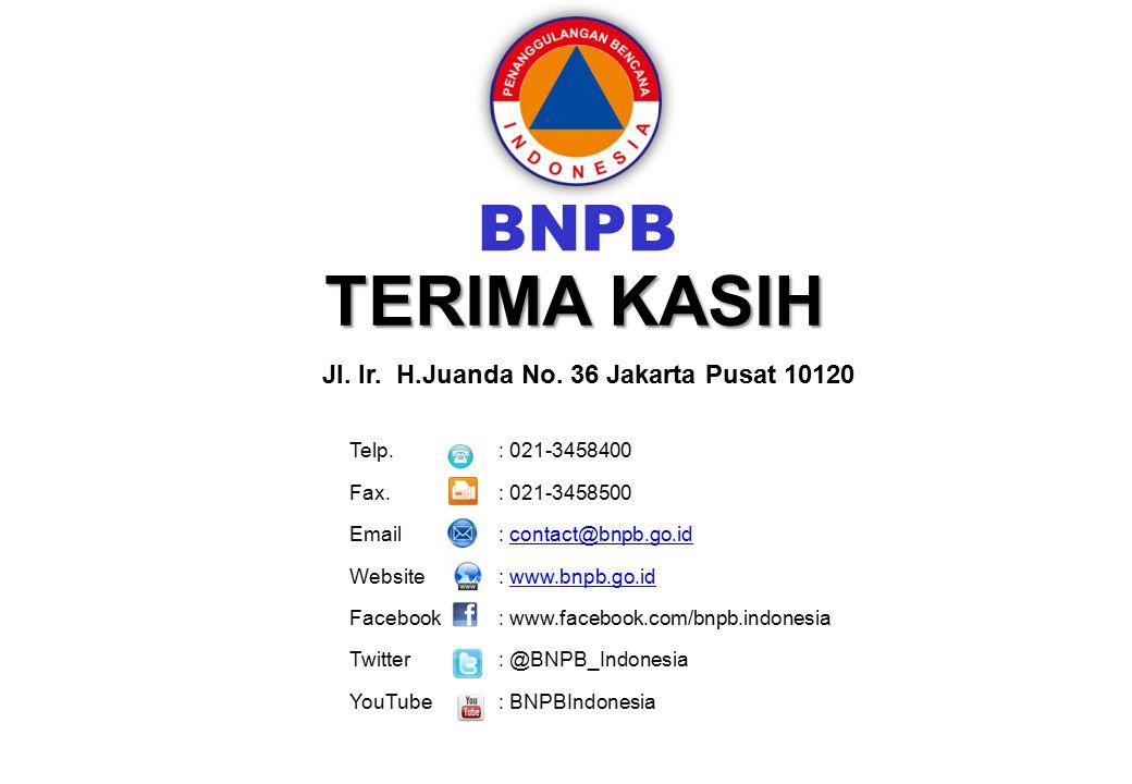 Harapan TERIMA KASIH BNPB Jl. Ir. H.Juanda No. 36 Jakarta Pusat 10120 Telp. : 021-3458400 Fax. : 021-3458500 Email : contact@bnpb.go.idcontact@bnpb.go
