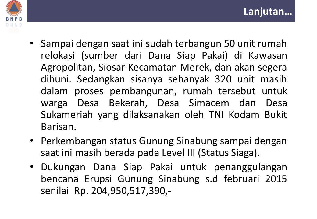 Lanjutan… Sampai dengan saat ini sudah terbangun 50 unit rumah relokasi (sumber dari Dana Siap Pakai) di Kawasan Agropolitan, Siosar Kecamatan Merek,