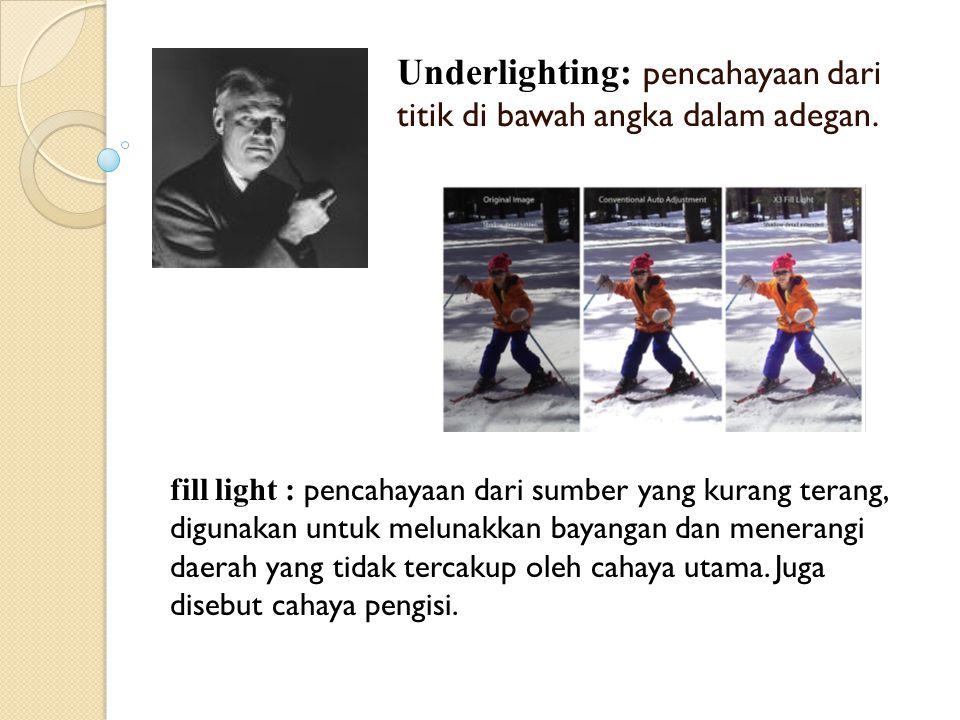 Underlighting: pencahayaan dari titik di bawah angka dalam adegan. fill light : pencahayaan dari sumber yang kurang terang, digunakan untuk melunakkan