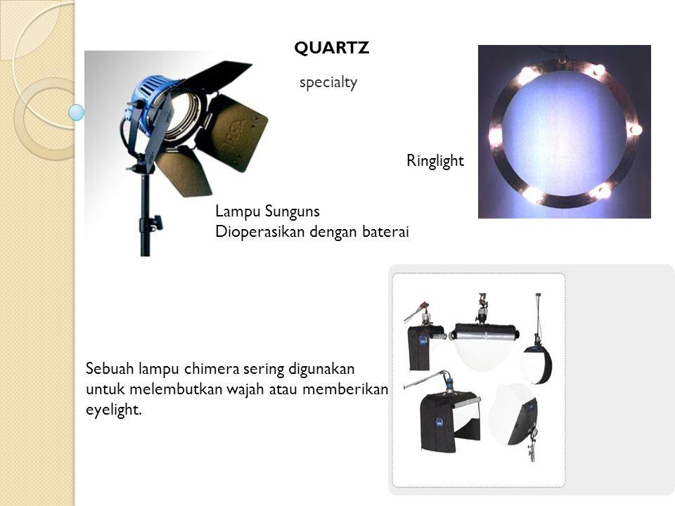 QUARTZ specialty Lampu Sunguns Dioperasikan dengan baterai Sebuah lampu chimera sering digunakan untuk melembutkan wajah atau memberikan eyelight. Rin