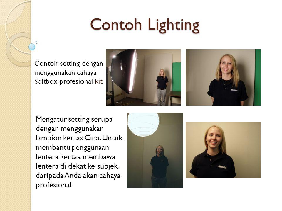 Contoh Lighting Contoh setting dengan menggunakan cahaya Softbox profesional kit Mengatur setting serupa dengan menggunakan lampion kertas Cina. Untuk