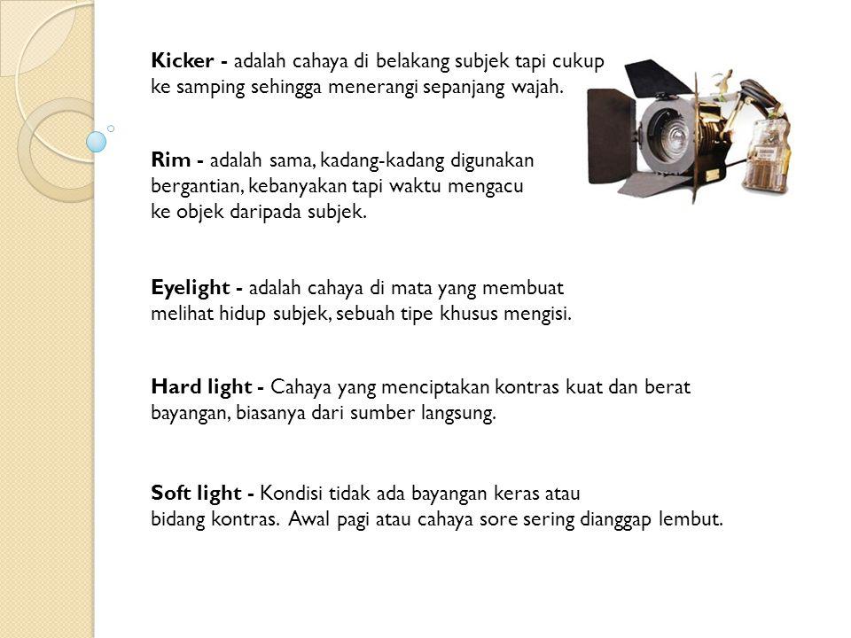 3 POINT LIGHTING: pengaturan cahaya yang menggunakan tiga arah cahaya pada sebuah adegan: dari belakang (backlighting) subjek, dari satu sumber terang (cahaya utama/key light), dan dari sumber yang kurang terang menyeimbangkan lampu utama (mengisi cahaya/fill in).