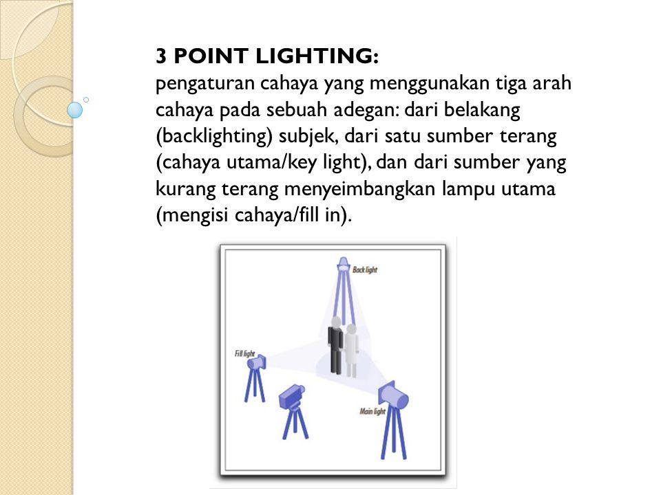 3 POINT LIGHTING: pengaturan cahaya yang menggunakan tiga arah cahaya pada sebuah adegan: dari belakang (backlighting) subjek, dari satu sumber terang