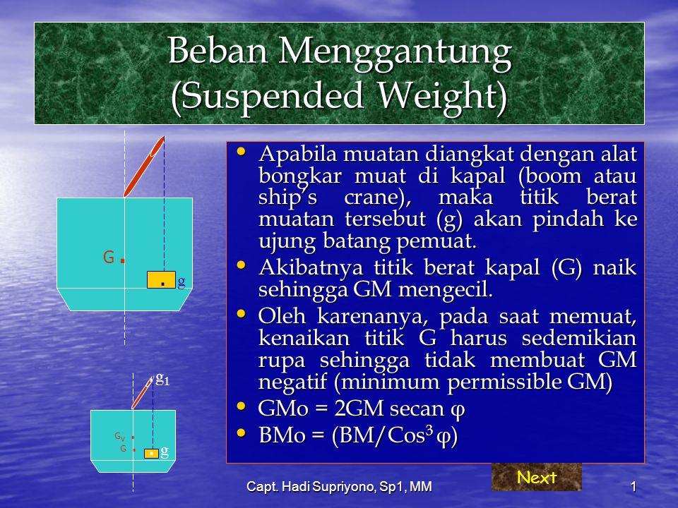 Capt. Hadi Supriyono, Sp1, MM1 Beban Menggantung (Suspended Weight) Apabila muatan diangkat dengan alat bongkar muat di kapal (boom atau ship's crane)