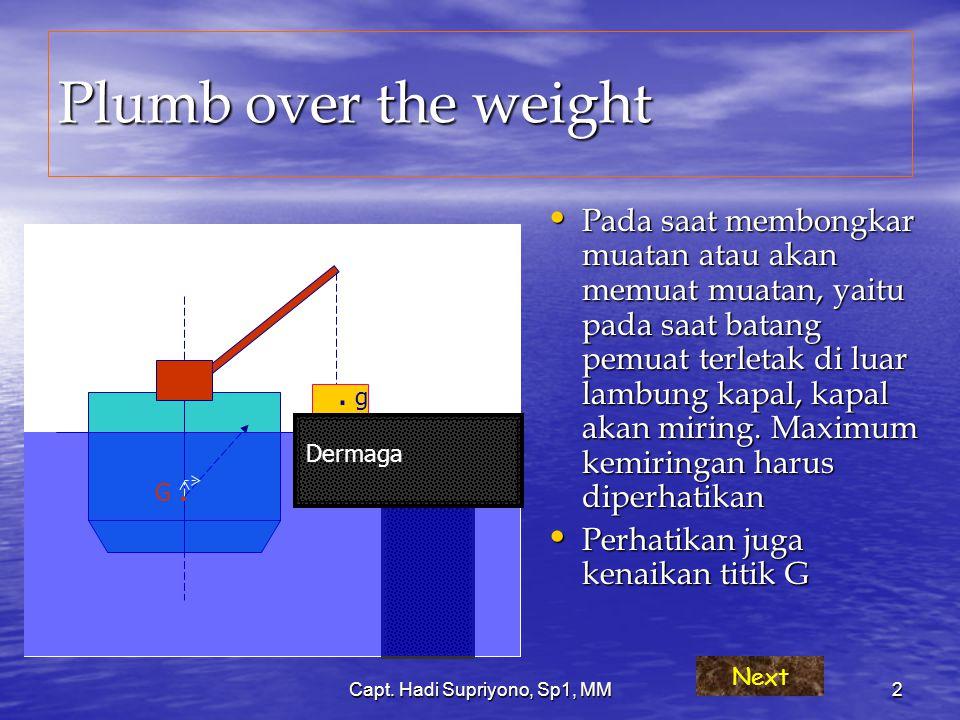 Capt. Hadi Supriyono, Sp1, MM2 Plumb over the weight Pada saat membongkar muatan atau akan memuat muatan, yaitu pada saat batang pemuat terletak di lu
