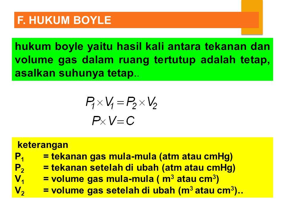 hukum boyle yaitu hasil kali antara tekanan dan volume gas dalam ruang tertutup adalah tetap, asalkan suhunya tetap..